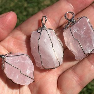 Rose Quartz Pendants in wired form