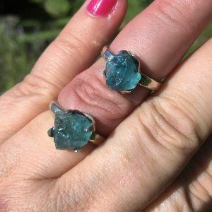 buy natural blue apatite silver ring