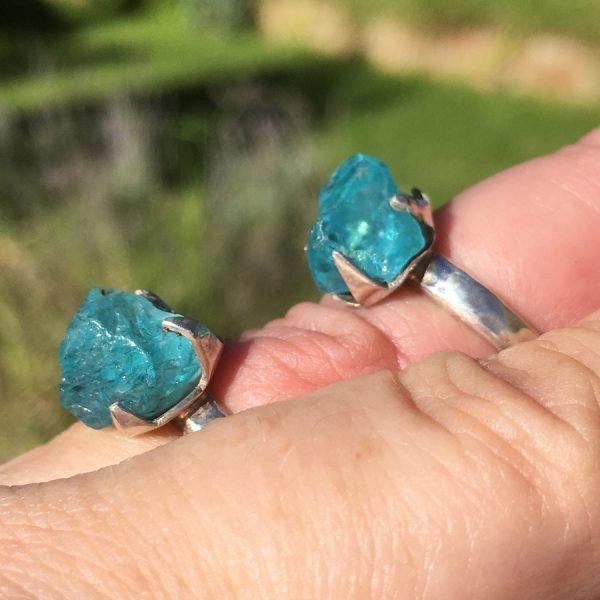 buy blue apatite rings in silver