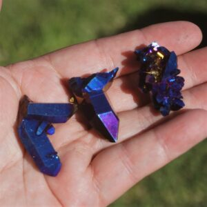 Cobalt Aura Quartz Clusters