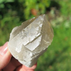 Golden Rutile in Quartz Point from Brazil
