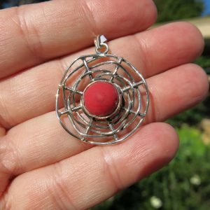 red coral pendant in silver