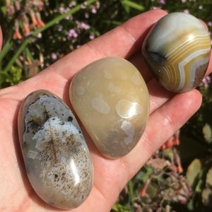 Shantilite Agate Pebbles or Dendritic Agate (left and middle) or Banded Agate
