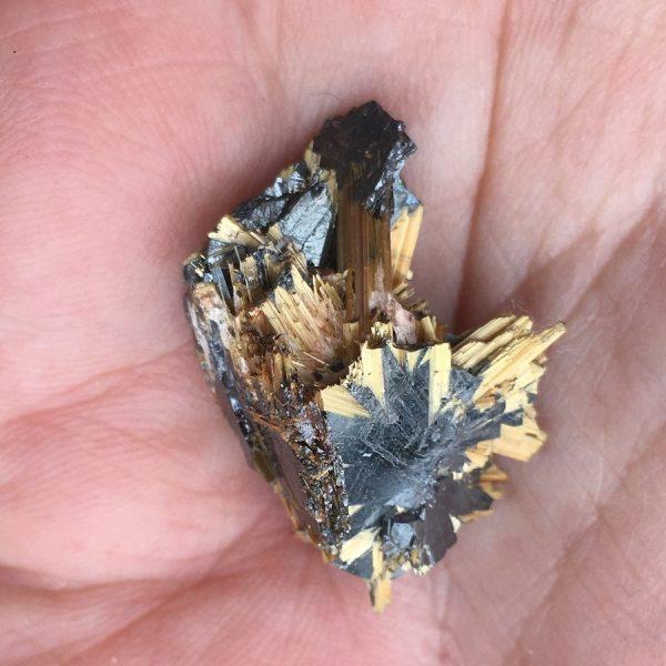 golden rutile needles on hematite