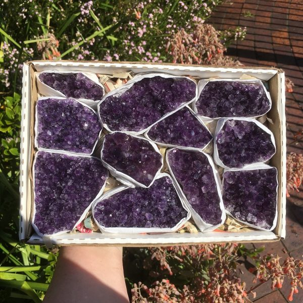 Box of Amethyst Clusters