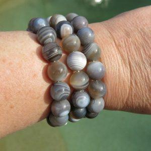 buy Botswana Agate Bracelets 12mm Round bead