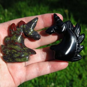 Crystal Unicorns - Dragon's Blood and Black Obsidian