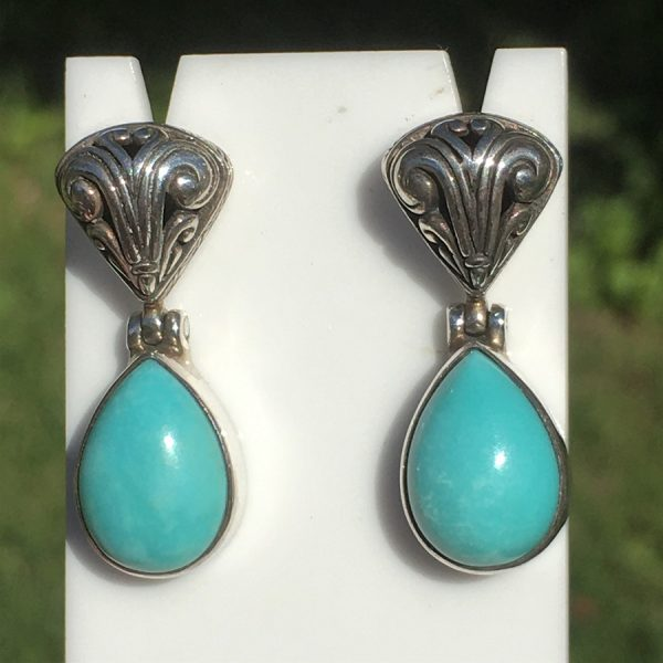 buy natural turquoise silver earrings