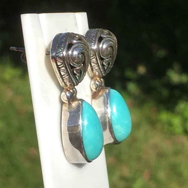 buy turquoise silver earrings