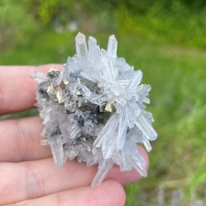 buy Clear Quartz Cluster with Pyrite Cubes